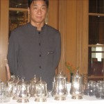 David presenting the cart of flowering teas
