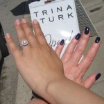 My friend Patty's and my hands, post-manicures by Nettie Davis.  Guess which one of us is trendy, and which one is a mom?!